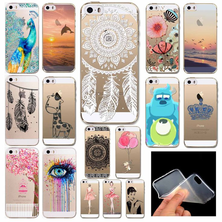 Phone Back Cases For iPhone 5 iPhone 5s SE Ultra Thin Soft TPU Silicon Printed Animals Flower Beauty Girl Back Case Cover | iPhone Covers Online