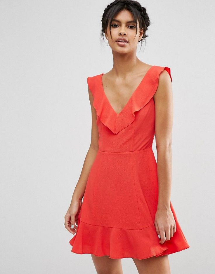 Image 1 of ASOS Skater Dress With Frill Detail