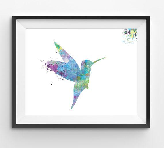 Colorful Hummingbird Watercolor Print Bird Print Hummingbird