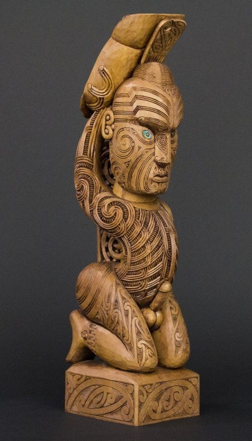 The Tekoteko is a stylized representation of the main progenitor of a tribe, and is the most focal point of the Whare Whakairo (carved tribal Meeting House). NZ Maori art.