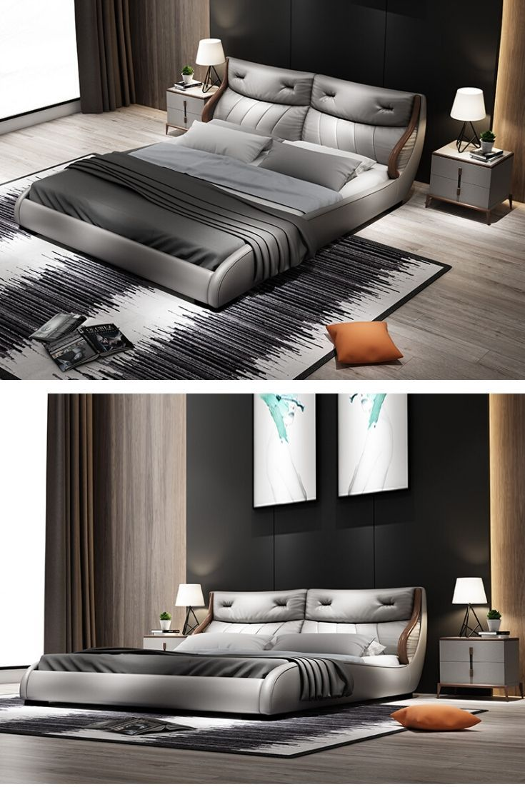 Modern Luxury Grey Bed Bedroom Interior Decor Bedroom Bed Design Bed Furniture Design Decor Home Living Room Luxury double bed room