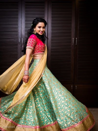 Twirling Brides - Banarsi Wedding Lehenga | Aquamarine Lehenga with Pink Blouse and Beige Dupatta  #wedmegood #indianbride #indianwedding #lehenga #bridal #banarsi