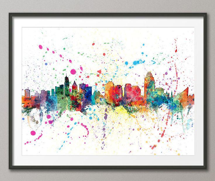 Cincinnati Skyline, Art Print (1206) by artPause on Etsy https://www.etsy.com/listing/234409805/cincinnati-skyline-art-print-1206