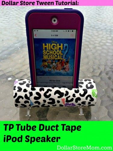 Tween Tutorial: TP Tube Speaker - Duct Tape Craft, dollar store craft {dollarstoremom.com}