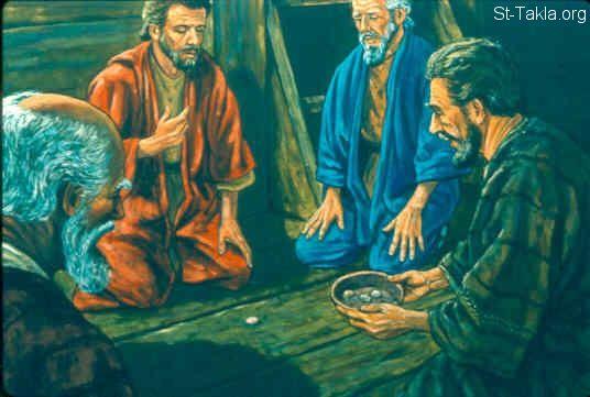 St-Takla.org Image: The lot fell on Jonah (Jonah 1:7-8) صورة في موقع الأنبا تكلا: وقعت القرعة على يونان (يونان 1: 7-8)