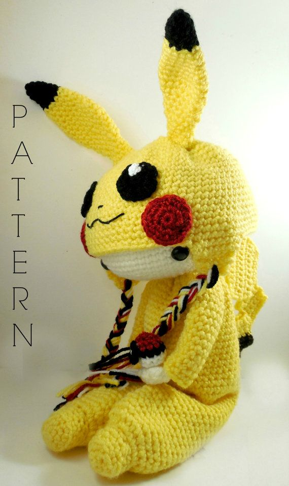 ATTENTION - Keep in mind that this is a crochet pattern in a PDF. This is NOT the finished product. Pikachu is approximately 15 inches tall without its ears, with its ears it is approximately 19 1/2 inches tall. Also, please keep in mind that this doll cannot stand up on its own. This is a non-refundable purchase. Once the payment has been confirmed you will be allowed to download the pattern in a PDF. The language in the pattern is in English only. The pattern includes all of the yarns…