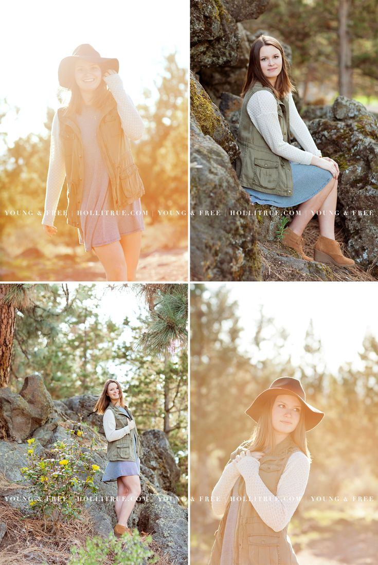 Beautiful Bend Oregon senior pictures at Sunset in a natural park with Eugene senior photographer, Holli True