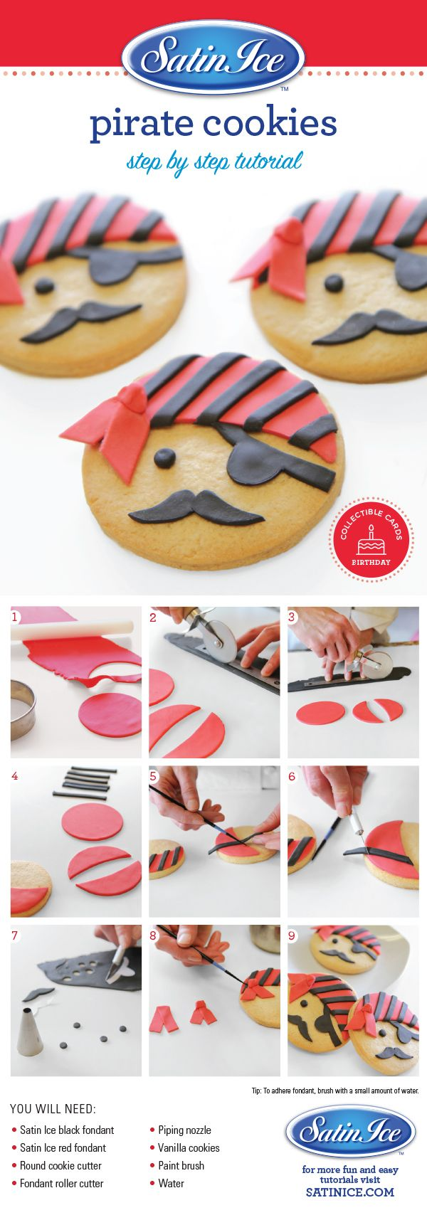 DIY fondant pirate cookies for a pirate birthday party by Satin Ice!