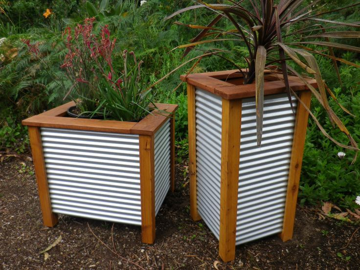 Corrugated Metal Fence Panels | MINI GARDEN LARGE THREE TUB PLANTER                                                                                                                                                                                 More