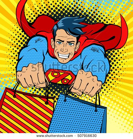 Pop art superhero. Young handsome happy man in a superhero costume with a percent sign on the chest flies with shopping bags. Vector illustration in retro pop art comic style.