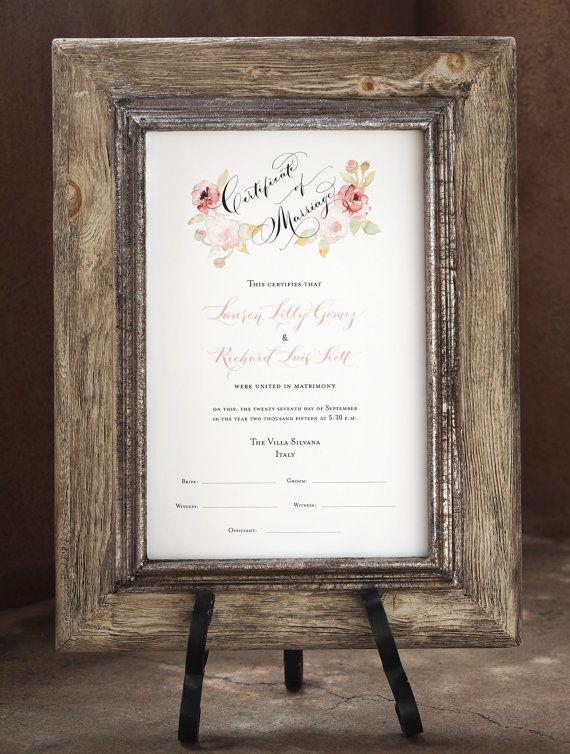 Certificat d'union avec signature des témoins