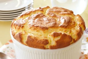 Easiest Soufflé Ever. Only 2 ingredients and it doesn't fall before you get it on the table. Genius.