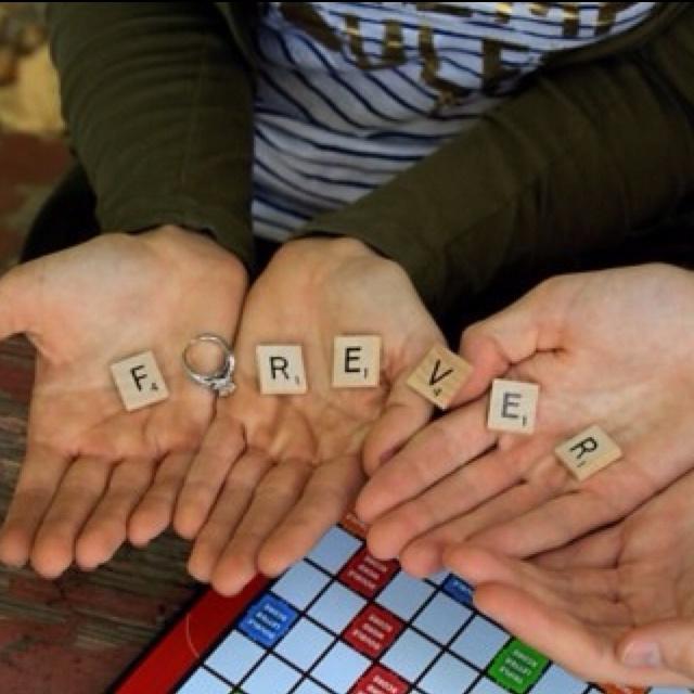 Scrabble engagement photoScrabble Tile