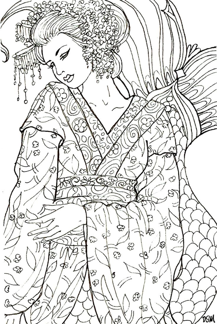 236 best coloring pages asian images on pinterest