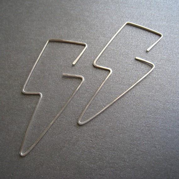 Bolts - Simple Modern Sterling Silver Hoop EarringsBolt Earrings, Lightning Bolt, Forbidden Jewelry, Baubles Beautiful Jewelry, Sterling Silver, Gem, Silver Hoop Earrings