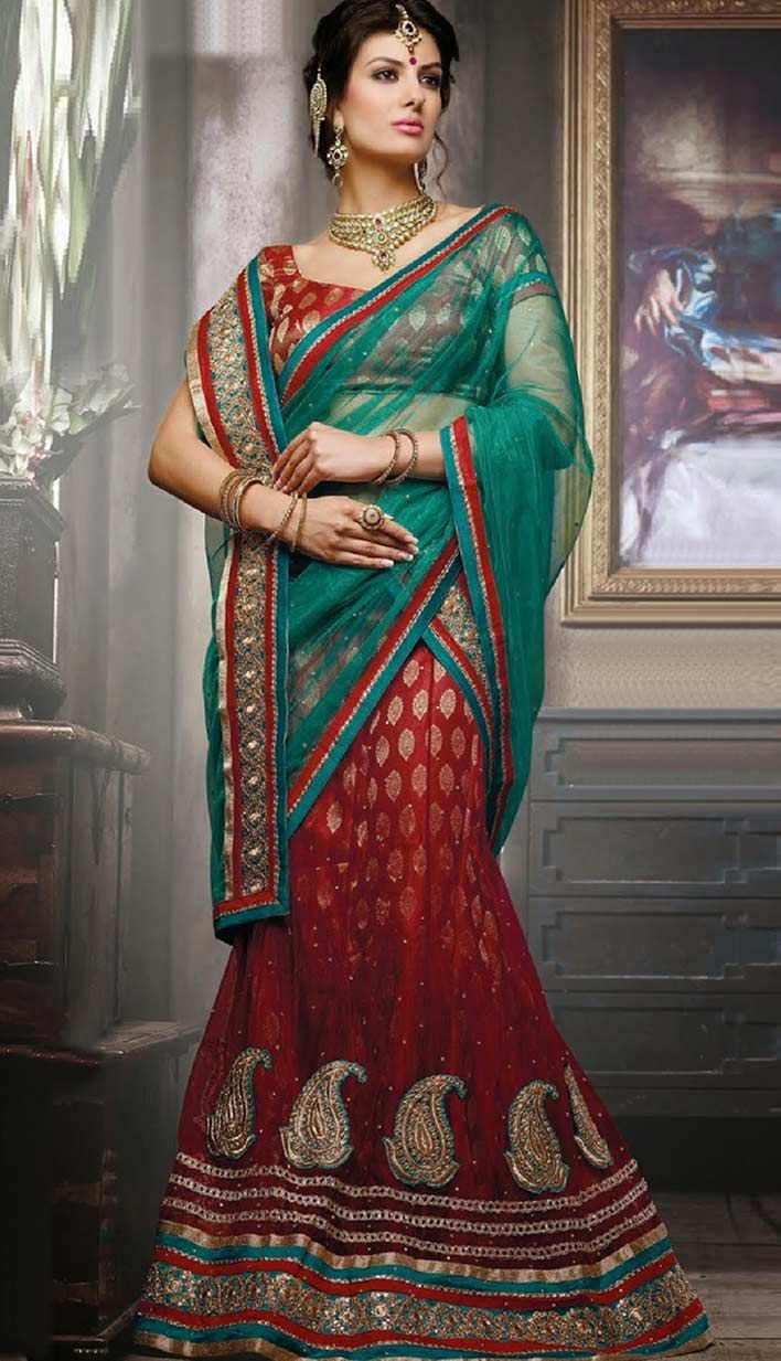 Shop Latest Wedding wear Red Nett #DesignerLehengaCholi Product code: KBL-42184 Price: INR 4101(Unstitch Blouse), Color: Red Shop Online now: http://www.efello.com/indianethnic/Bridal-Latest-Wedding-wear-Red-Nett-Designer-Lehenga-Choli-140641