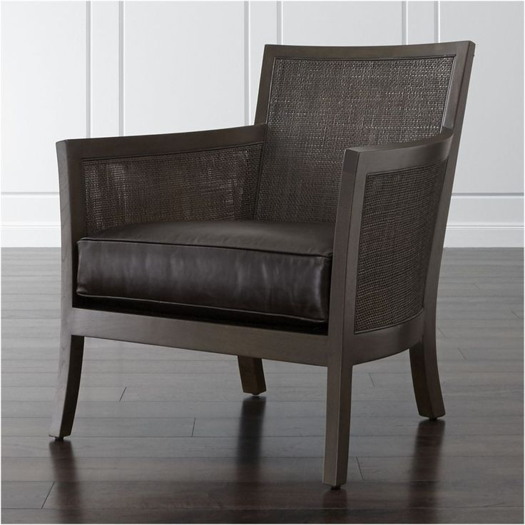 Blake Carbon Grey Chair with Leather Cushion - Crate and Barrel