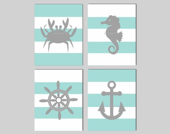 Nautical Nursery Prints - Kids Nautical Prints - Childrens Nautical Wall Art - Anchor Seahorse Crab Ship Wheel - Set of 4 11 x 14 Prints