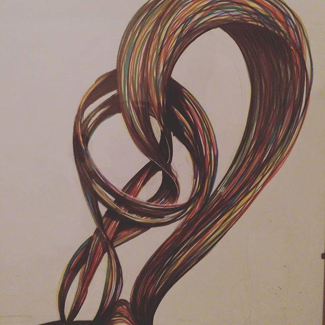 Magnetics ropes of solar explosion #scienceisart #D&M #science #magnetic #sun #explosion #drawing #instadraw #illustration #rough #art #colors