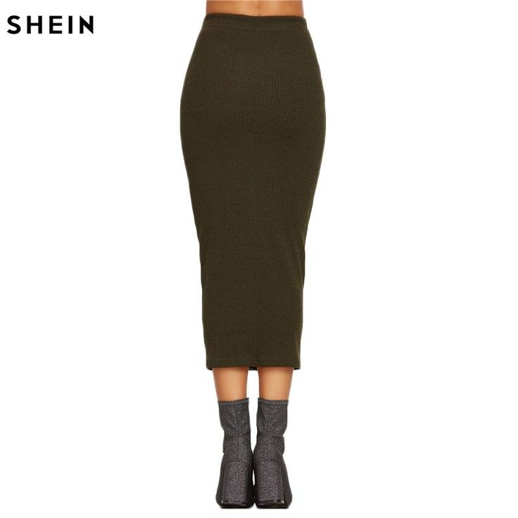 Spring Women's Long Skirts Fashions Famous Elegant Style Tight Skirts Olive Green Ribbed Knit Pencil Skirt  #girls #beauty #photooftheday #lookoftheday #instacool #couturier #outfit #fashionista #couture #instagramers