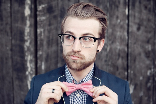 Gingham, bow-tie, clubmasters, hair. I love everything about this fellow's formal style.: Hipster, Style, Bow Ties, Analytic Philosopher, Bowties, Scumbag Analytic, Jeremy Davis