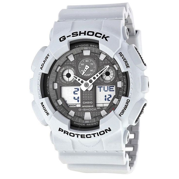 CRAZY DEAL TODAY ONLY G-SHOCK GA100LG-8A  Grey Ana-Digi Dial White Resin Band
