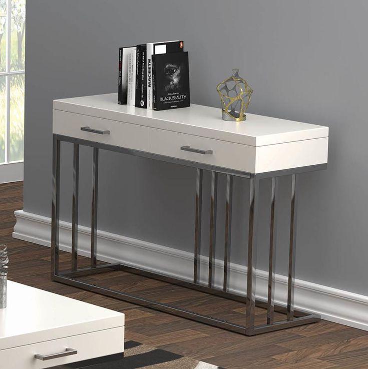 723139 Orren ellis 2 drawer glossy white chrome metal ...
