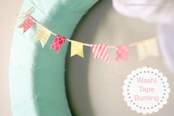 Spring Wreath with Washi Tape Bunting -cuteness!