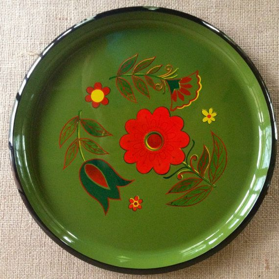 Vintage Round Tray Folk Art 60s Floral Tray by ChattCatVintage