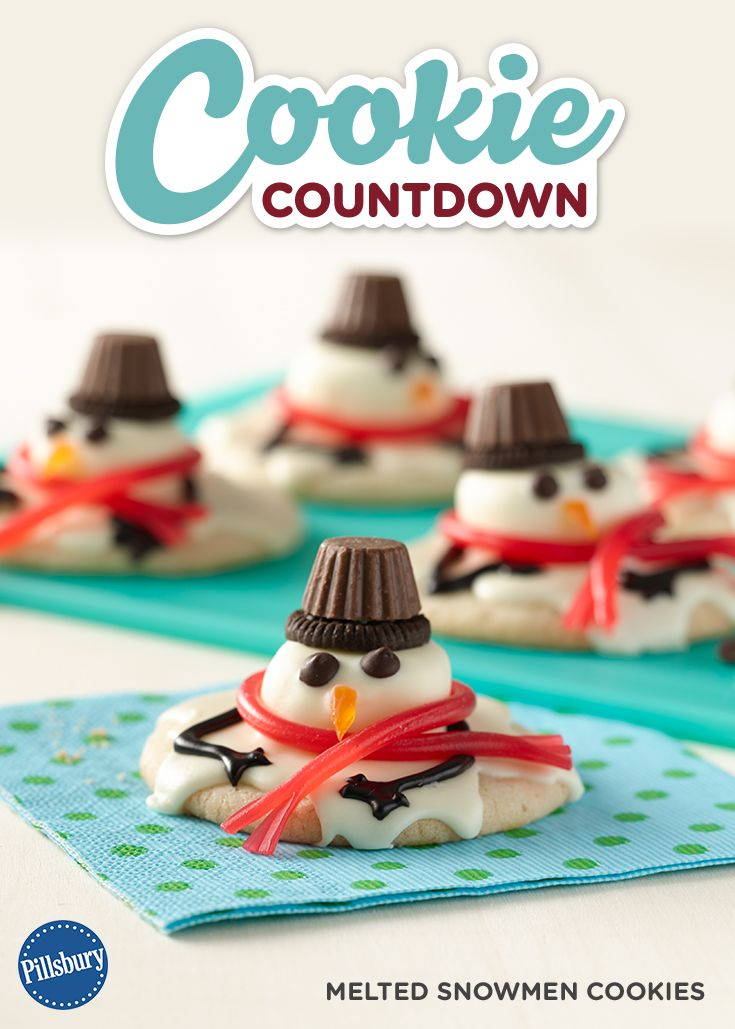 Get this fun Melting Snowman cookie recipe by signing up for our Pillsbury Cookie Countdown! You'll receive the cutest cookie recipes every day leading up to Christmas. Learn how to decorate your favorite easy recipes. Perfect for if you are hosting a cookie swap, exchange or party.: