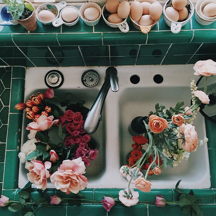 flowers in the sink