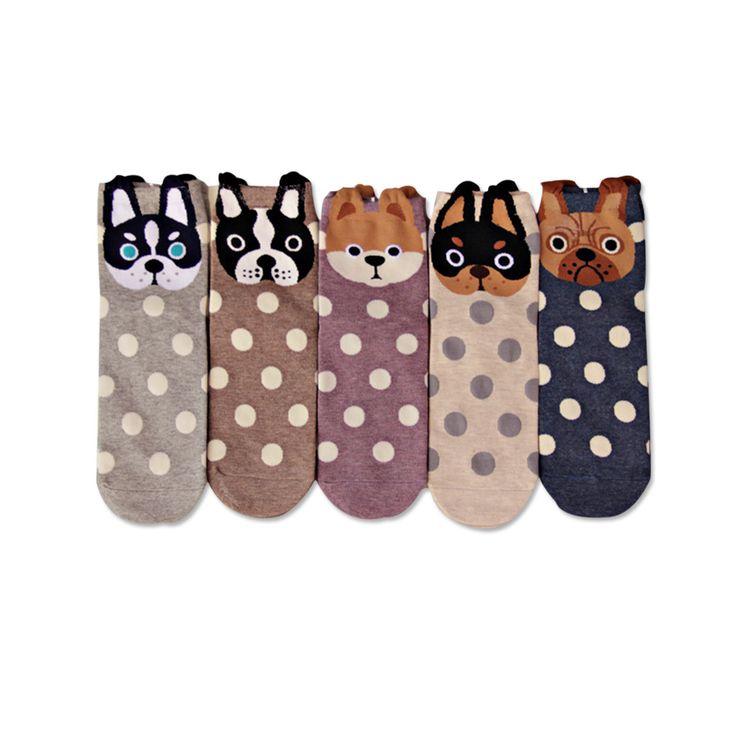 [COSPLACOOL] New women lovely spots dogs Socks cute cartoon  summer South Korean style Fashion Cotton Printing Tube Socks