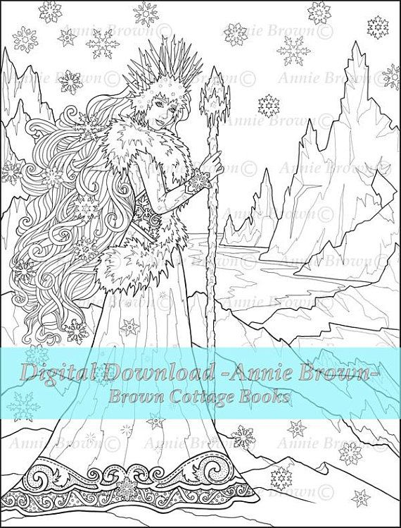Adult Coloring Page Digi Stamp Snow Queen Line Art Fantasy