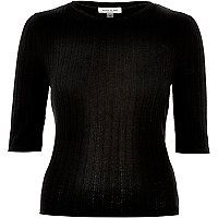 Ribbed Fitted Crew neck Mid-length sleeves