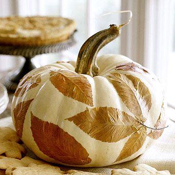 Leafy Centerpiece Pumpkin. More No-Carved Pumpkin ideas: http://www.bhg.com/halloween/pumpkin-decorating/easy-no-carve-halloween-pumpkins/