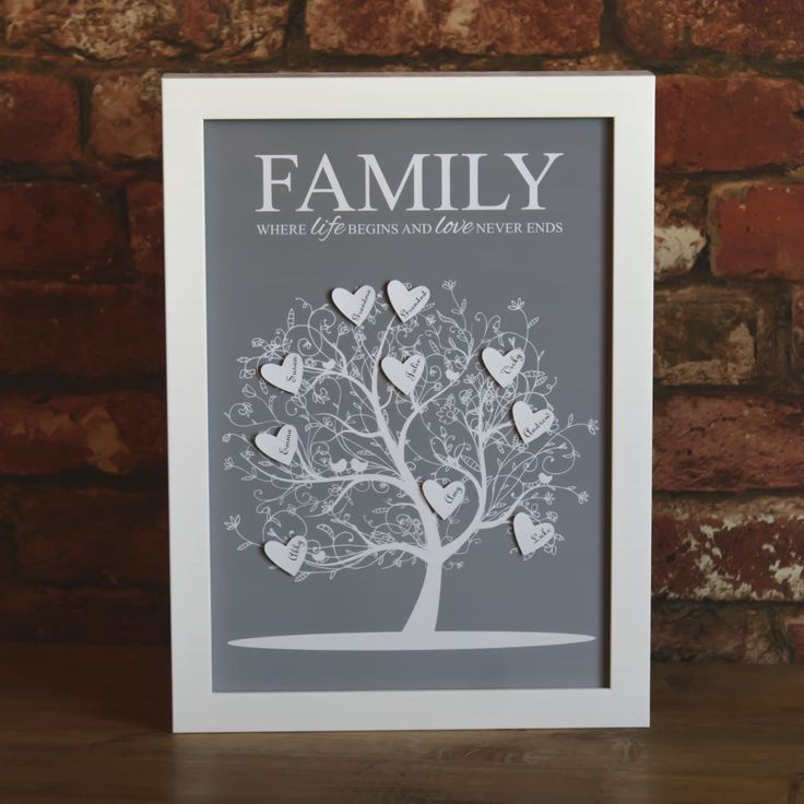 Unique Personalised Family Tree Framed Print, the perfect Father's Day gift idea.  A beautifully intricate tree silhouette adorned with your loved ones names printed on individually cut, raised paper hearts - all printed on acid free archival paper.