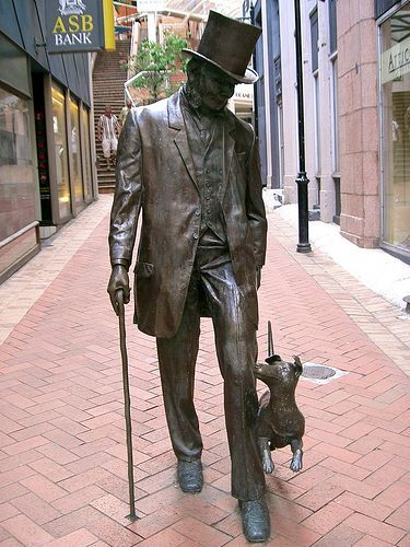 Statue of John Plimmer and his dog, Fritz, at the entrance to the Plimmer Steps in Wellington, New Zealand.  Plimmer is known as 'The Father of Wellington'.  http://en.wikipedia.org/wiki/John_Plimmer