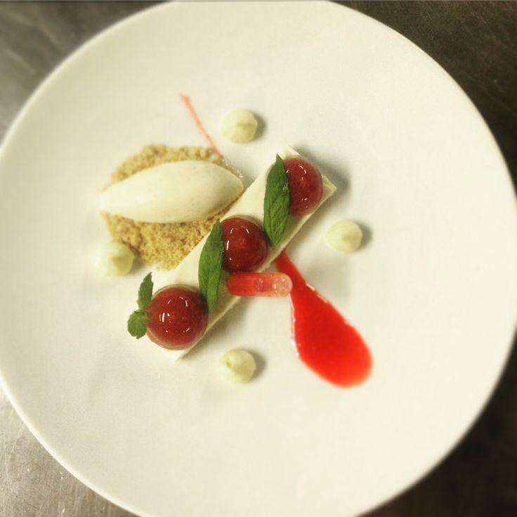 Bio yogurt mousse dessert!  Bio yogurt mousse, strawberry jelly,sauce strawberry,ice cream organic vanilla By chef patissier argiris papastavrou