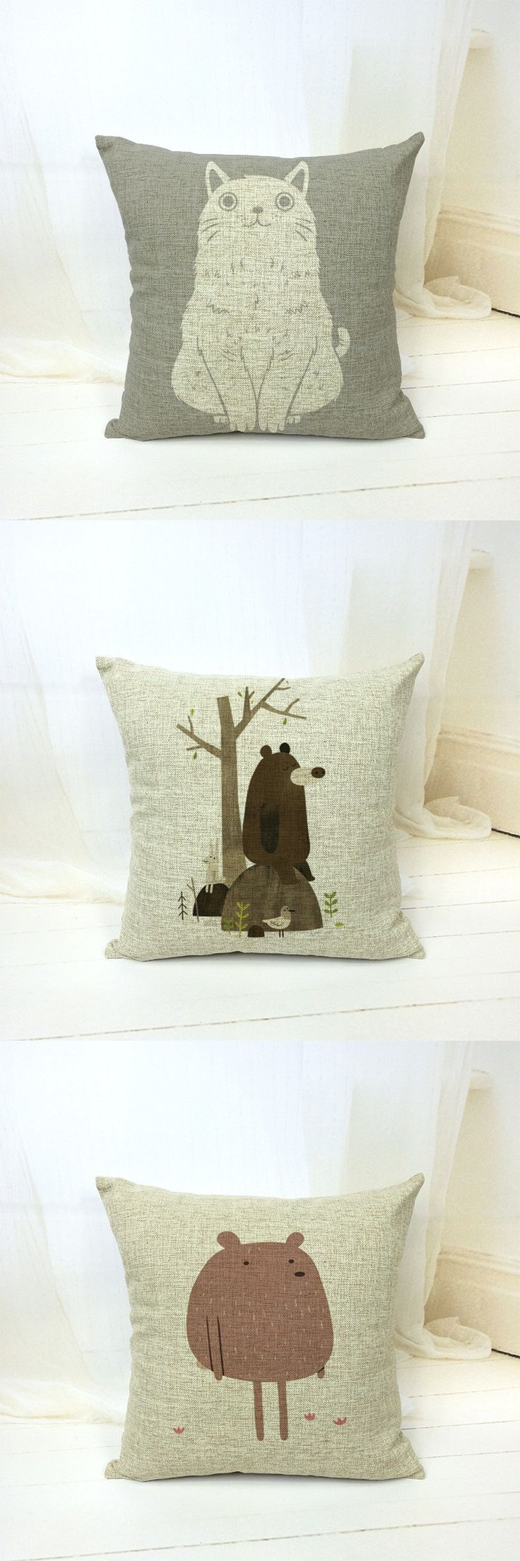 "18"" Design Animal Cat Decorative Pillows Kussens Home Decor Cushions Coussin Cuscini Cojines Pouf Almofadas Scandinavian Futon $9.99"