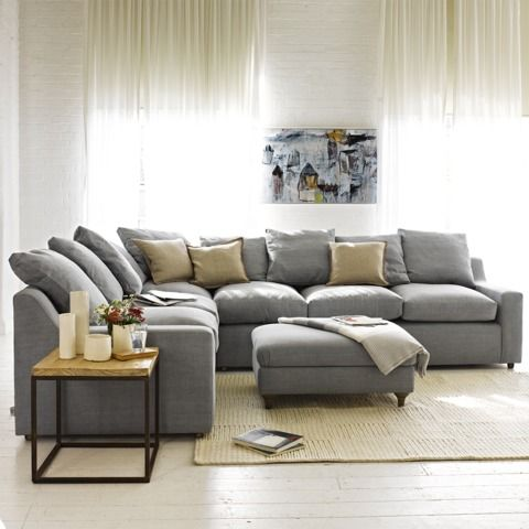 """CLOUD CORNER SOFA - How comfy is this sofa? The clue is in the name. We like the way the back cushions are of differing sizes and have """"box edges"""" as it lifts the whole feel to a classy, laid-back level."""
