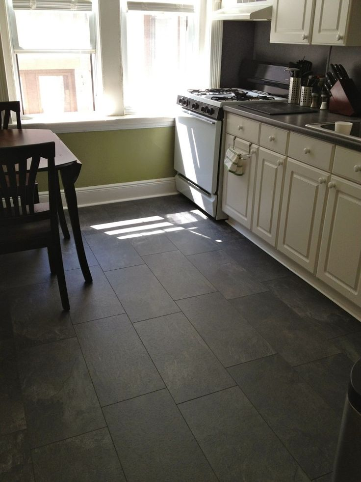 Pergo monson slate flooring though the blogger says it for Kitchen flooring installation