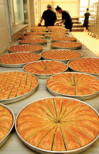 Ready for sale or shipping, each Gaziantep baklava wraps its filling in some 40 layers of filo.