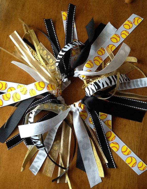 Yellow Softball Hair Bow Gold Black and White by BlinginBowMama, $8.00
