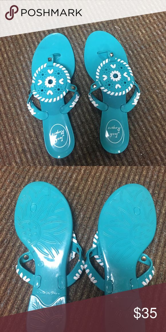 Jack Roger: Georgica Jelly Sandal Teal blue and white jelly (plastic) sandal! Barely worn, almost brand new! Great condition! Jack Rogers Shoes Sandals