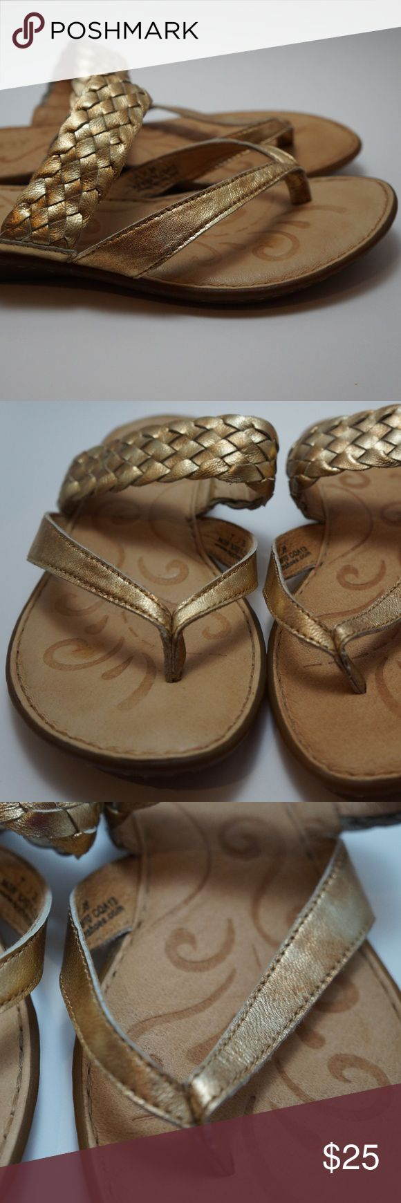 Born gold braided flip flop sandal 7 Beautiful gently used Born sandal. Pretty gold braided detail. Very gently worn, soles and insole shave some wear. Very cute and comfy. Size women's 7. Born Shoes Sandals