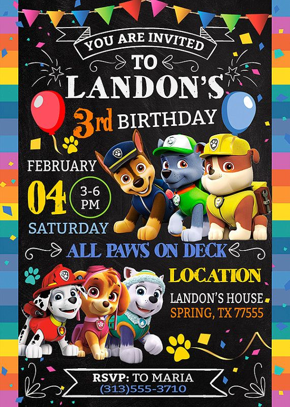 This is digital file, High Resolution Photo JPEG Paw Patrol Invitation >>> HOW IT WORK <<<  1.) Purchase this listing and provide the following information in Notes to Seller section:  >>> Name >>> Age >>> Date >>> Time >>> Location >>> Address >>> RSVP contact info  You can print as many copies as you need. A digital proof will be sent to you email within 12-24 hrs after order. Be sure to check both inbox & spam folder. >>> Terms of use <<<  This file is for personal use only. Mass…