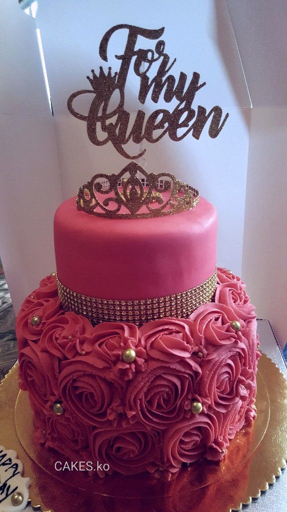 Pink and gold Birthday bling cake I did.Click link to my business page for more of my work.