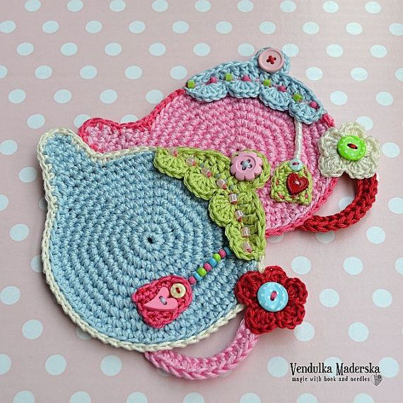 Teapot coaster  crochet pattern DIY by VendulkaM on Etsy