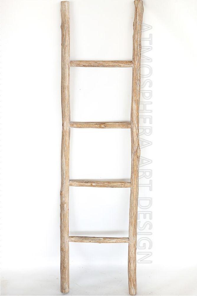 SCALA LEGNO 4 gradini h.140 decorativa porta asciugamani ARREDO CASA Shabby chic
