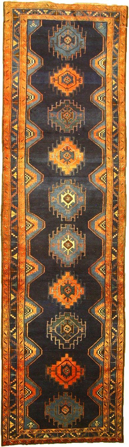 Navy Blue 3' 8 x 13' 1 Saveh Persian Rug